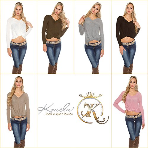 pull marron taupe col v original nouvelle collection