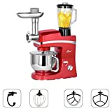 Litchi 5.3 Quart Stand Mixer, 6 Speed Tilt-Head Stand Mixer with Meat Grinder, Blender, Sausage Stuffer, Pasta Dies, Dough Hook, Mixing Blade, Flat Beater, Whisk and Pouring Shield, Red Review