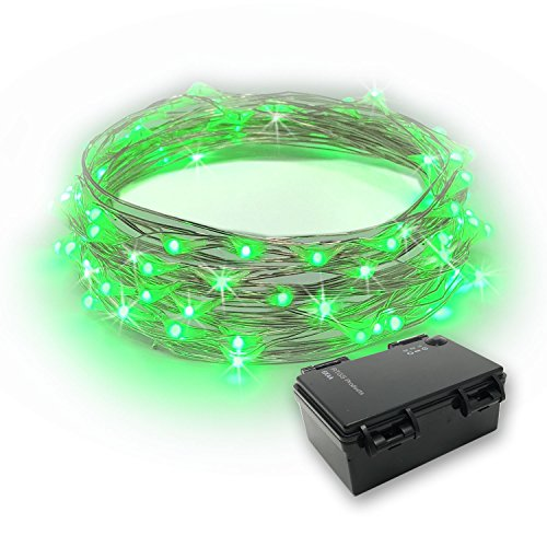 RTGS 60 LEDs String Lights Battery Operated on 20 Feet Long Silver Color Wire, Indoor and Outdoor with Waterproof Battery Box and Timer (Green)]()