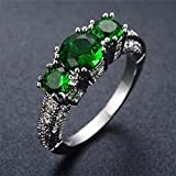 Sumanee Charm Zircon Shiny Fashion Wedding Rings Silver Plated Crystal Green (9)
