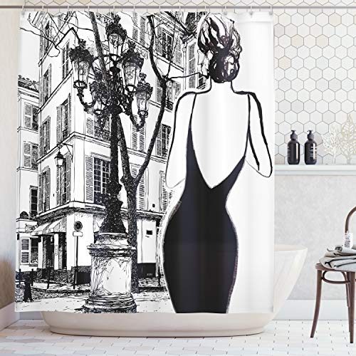 Ambesonne Paris City Decor Collection, Young Elegant Woman in a Black Dress in Paris Street Old Building Facade Cityscape, Polyester Fabric Bathroom Shower Curtain Set, 75 Inches Long, Black and White (Paris Cityscape)