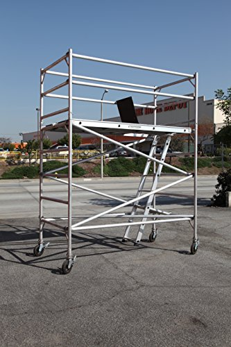 8 Feet Deck High Industrial Heavy Duty 2''Aluminum Utility Scaffolding Rolling Tower by CBMScaffold Rolling Tower
