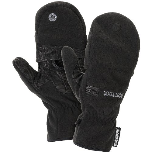 Marmot Men's Windstopper Convertible Glove, Black, Large