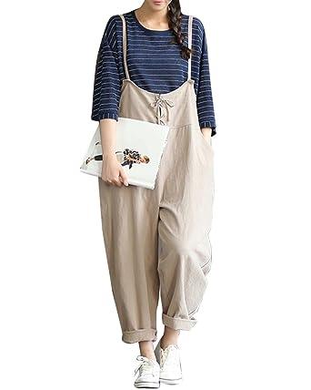ec6bccc0f99 Quge Women s Retro Loose Casual Lace up Decor Jumpsuit Playsuit Trousers  Dungarees  Amazon.co.uk  Clothing