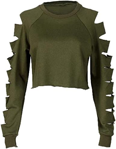 zolimx - Camiseta de Manga Larga - Cuello Redondo - para Mujer Verde Militar S: Amazon.es: Ropa y accesorios