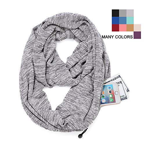 Convertible Infinity Scarf for Women - Lightweight Soft Scarves with Hidden Pocket (Light Grey, 35'' L x 10'' W)