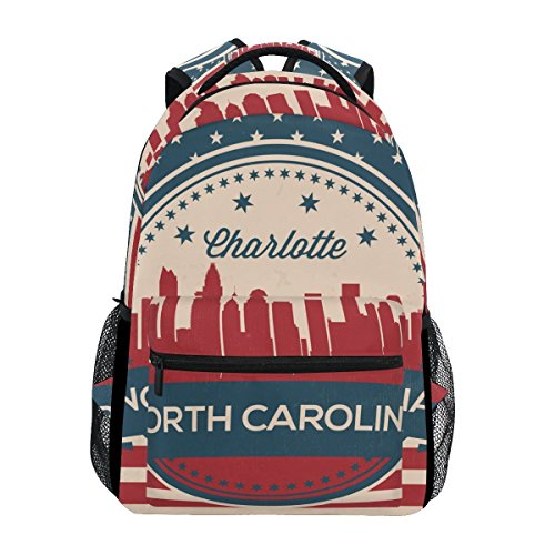 Vintage American Flag North Carolina State Charlotte Skyline Unisex Rucksack Satchel Casual Daypack, Hiking Backpack