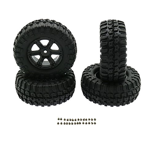 Tire Rear Square - RC Rock Crawler 1:10 Off-Road Car Wheel Rim Rubber Tires Set 1.9 Inch Front and Rear 6 Spoke Pack of 4 (96MM Square Tire)