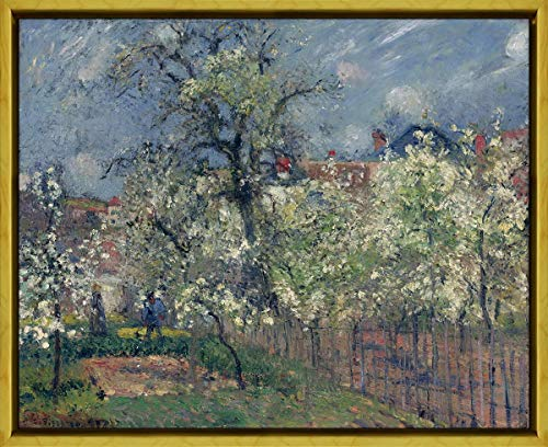 Berkin Arts Framed Camille Pissarro Giclee Canvas Print Paintings Poster Reproduction(The Garden of Maubuisson Pontoise. Pear Trees in Bloom) #XLK