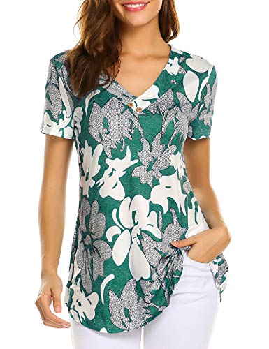 Sweetnight Womens Floral Print V Neck Button Decor Peasant Summer Swing Tunic Tops Shirts Green 3XL