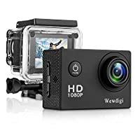 Wewdigi EV5000 Action Camera, 12MP 1080P 2 Inch LCD Screen, Waterproof Sports Cam 140 Degree Wide Angle Lens, 30m Sport Camera DV Camcorder With 10 Accessories Kit (Black) (black)
