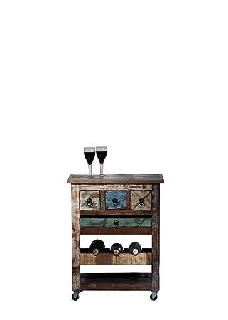SIT-Möbel 9187 - 98 Carrito de cocina sobre ruedas, 3 cajones, estante para 3 botellas, bandeja extraíble, 78 x 48 x 85 cm: Amazon.es: Hogar