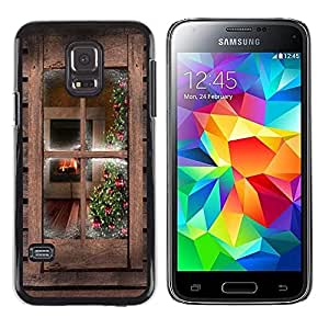 iKiki Tech / Estuche rígido - Window Rustic Brown Wood Country - Samsung Galaxy S5 Mini, SM-G800, NOT S5 REGULAR!