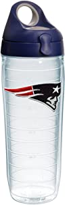 Tervis NFL New England Patriots Primary Logo Tumbler with Emblem and Navy with Gray Lid 24oz Water Bottle, Clear
