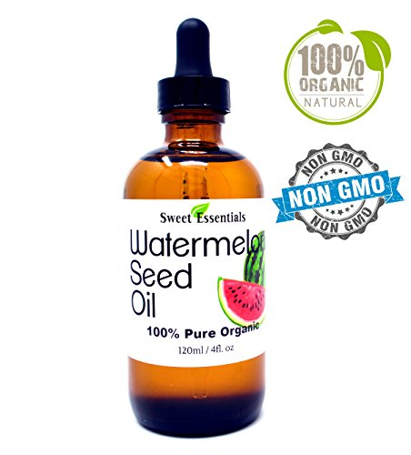 100% Organic Watermelon Seed Oil | Imported From Egypt | Various Sizes | 100% Pure | Cold-Pressed | Natural Moisturizer for Skin, Hair and Face | By Sweet Essentials (4 fl oz Glass Bottle)