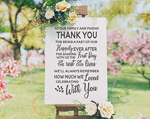 Dozili to Our Family and Friends Thank You Wedding Sign Cut Files Wedding Gift Wedding Decor Ideas Newlywed Saying Marriage Life 20