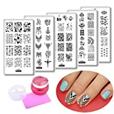 5pcs Mask Iron Tower Nail Art Image Template Flower Geometry Love Valentine'S Day Rectangle Nail Art Stamping Plates + 1 Chess Silicone Nail Stamper Scraper Set