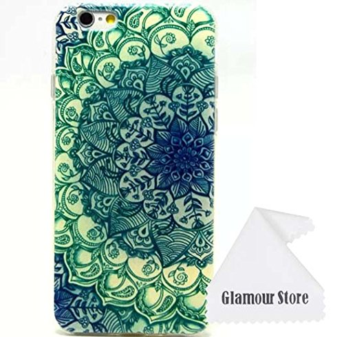 iPhone 6 Case,Flower Rubber TPU Gel Silicone Soft Case Cover Skin Protective For Apple iPhone 6 4.7 inch With a Free Cleaning Cloth As a Gift