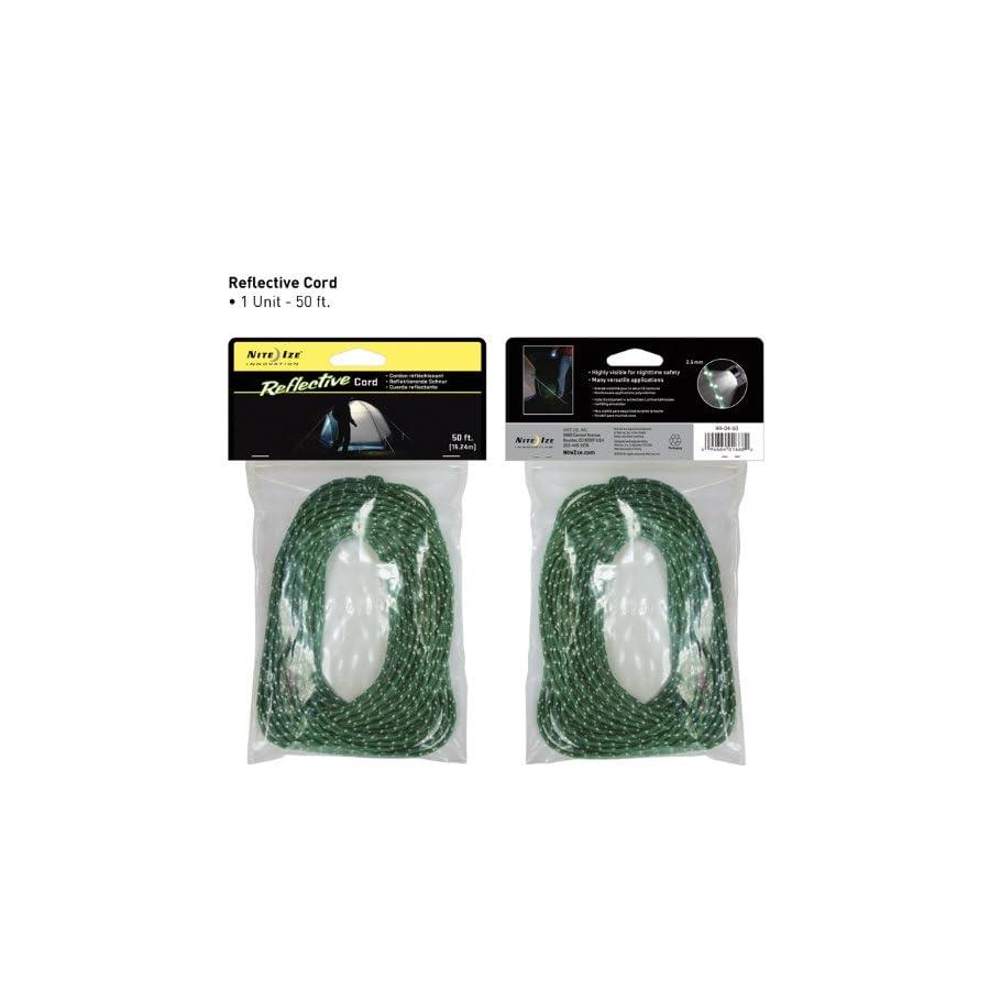Nite Ize Reflective Nylon Cord, Woven for High Strength, 50 Feet, Green