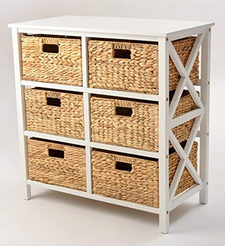Basket Shelf - 3 Tier X-Side Storage Cabinet with 6 Baskets (White)