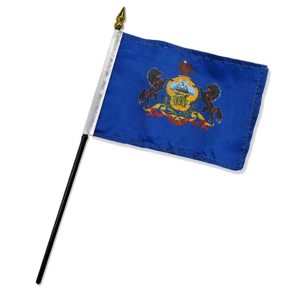 """4x6 inch Pennsylvania Table Desk flag mounted on a 10 inch Black Plastic stick staff (Super Polyester) cloth Fabric (Sewn Edges for Durability) 4""""x6"""" 4inch x 6inch"""