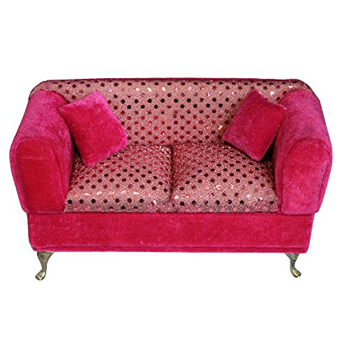 Hot Pink Velour Couch Jewelry Organizer Box With Mirror