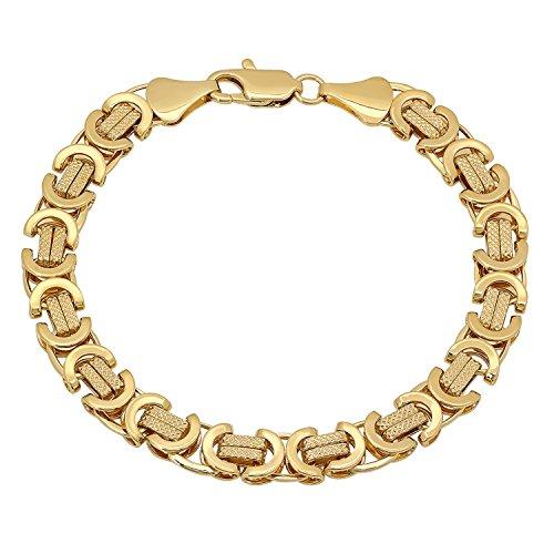 The Bling Factory 9mm 14k Gold Plated Diamond-Patterned Flat Byzantine Chain Bracelet, 9