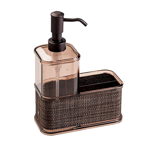 mDesign Soap Dispenser Pump, Sponge and Scrubber Caddy Organizer for Kitchen Sink - Bronze