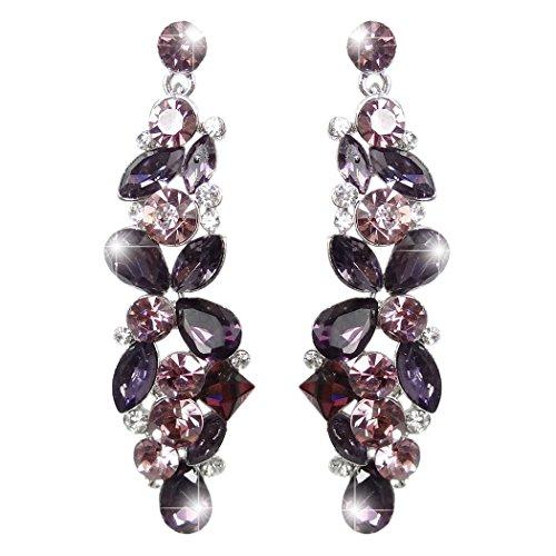Flower Earrings Drop Crystal (EVER FAITH Austrian Crystal Tear Drop Flower Cluster Dangle Earrings Purple Silver-Tone)