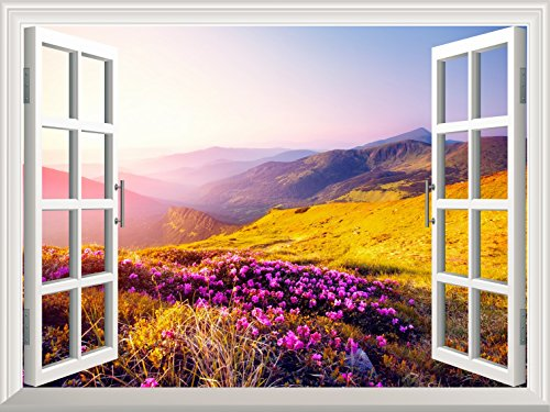 Removable Wall Sticker Wall Mural Beautiful Moutain Landscape in Morning Light out of the Open Window Creative Wall Decorr