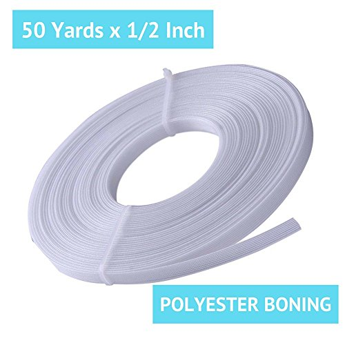 50 Yard x 1/2 Inch Polyester Boning for Sewing - Sew-Through Low Density MaxPro Boning for Corsets, Nursing Caps, Bridal Gowns, and More
