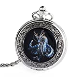 Carrie Hughes Blue Dragon Steampunk mechanical skeleton Hand-wind Pocket watch with chain Gift Box CHPW05