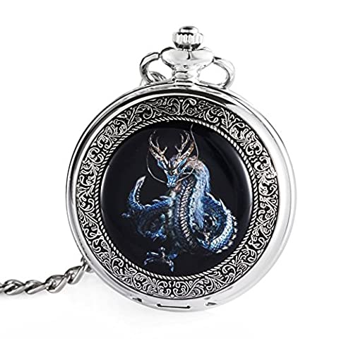 Carrie Hughes Blue Dragon Steampunk mechanical skeleton Hand-wind Pocket watch with chain Gift Box (Mechanical Pocket Watch Engraved)
