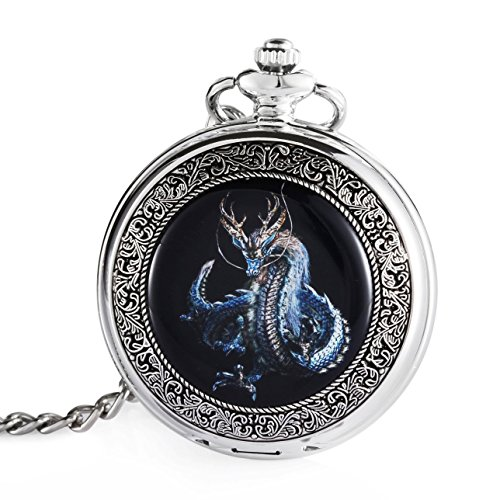 Carrie Hughes Blue Dragon Steampunk Skeleton Mechanical Pocket Watch with Chain Gift - Men Gifts Steampunk For
