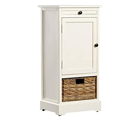 Extra Long Accent Cabinet For Bathroom And Living Room Free Standing 1 Drawer White Distressed