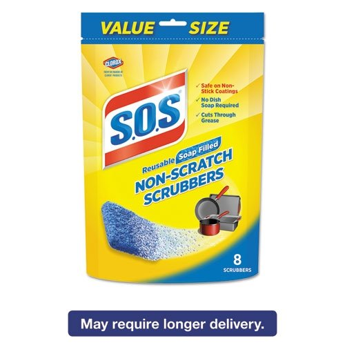 Non-Scratch Soap Scrubbers, Blue, 8/Pack, 6 Packs/Carton by SOS (Image #1)
