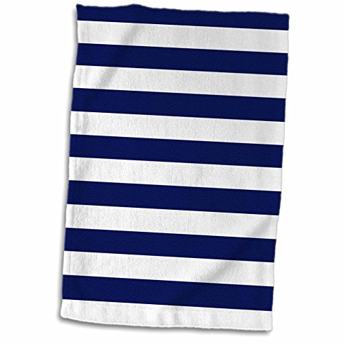 3D Rose Navy Blue and White Stripes TWL_24691_1 Towel, 15
