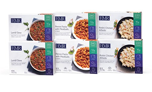 Price comparison product image HMR Tasty Trio Entree Variety Pack,  includes: 2 servings each of Penne Pasta with Meatballs in Sauce,  Rotini Chicken Alfredo,  Lentil Stew,  7–8 oz. servings,  6 count