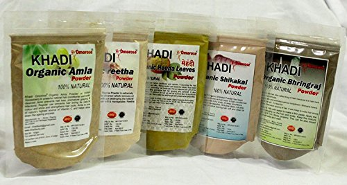 Khadi Amla Reetha Shikakai Bhringraj Heena Combo (Pack of 5) (Amla Powder Shikakai)