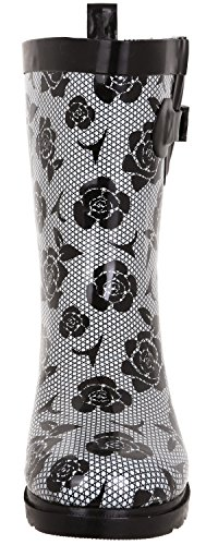 Printed Mid Rain Ladies New White Collegiate Capelli Black Calf York Boots Plaid wnTZHBqx