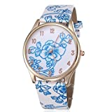 BUYEONLINE Women's Fashion Flower Rose Gold Plated Leather Casual Watch Light Blue
