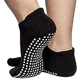 Skyba Non Slip Anti Skid Socks- Grips for Yoga, Pilates, Barre, Ballet & Maternity [4 Sizes] (Black- 2 pairs, Large (UK 8.5-10.5))