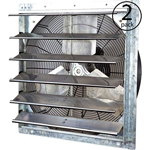 Exhaust Variable 2 Speed Fan - iLiving ILG8SF24V 24 Inch Variable Speed Wall Mounted Steel Shutter Exhaust Fan (2 Pack)