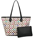 Womens Handbags All-over Printed Purses Satchel Shoulder Bag with Zipper Wallet (Coforful 2)