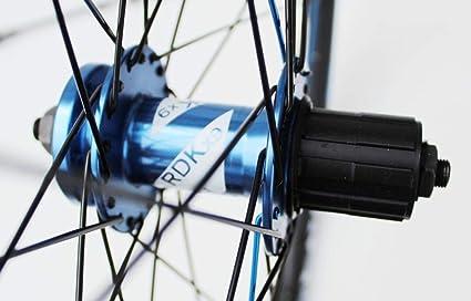 Rueda de 26 pulgadas para bicicleta de montaña, azul, huecos y adhesivos, solo llantas de disco de freno, 7,8,9,10 velocidades, neumático de casete, ...