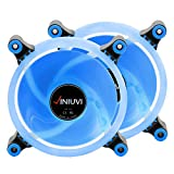 2 Pack iHalo Blue 120mm Case Fan Cooling PC and Light Up Computer Case with Cool Look, Long Life Bearing with DC 15 LED Illuminating PC Case. Quiet Durable Fans Enhance Performance of Tower