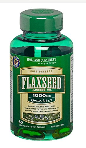 Holland & Barrett Vegetarian Flaxseed Linseed Oil 60 Capsules1000mg/Omega-3,6&9 by Holland & Barrett