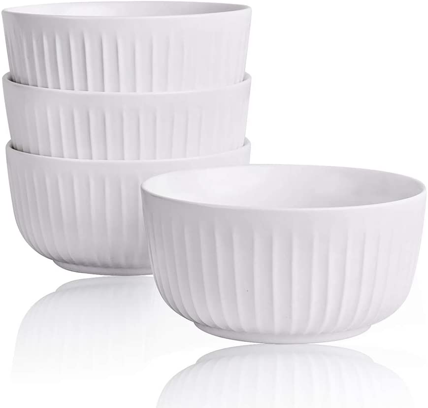 Kanwone Porcelain Bowl Set - 34 Ounce for Cereal, Salad and Soup - Set of 4, White, Microwave and Dishwasher Safe Bowls