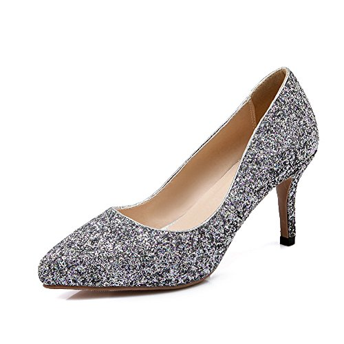 Sequins BalaMasa On Pumps Shoes Womens Silver Imitated Pull Leather 7CUx1AwqC