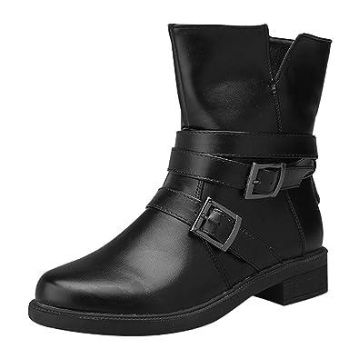 d6985d2c902d3 Creazrise Women's Flat Short Short Buckle Strap Zip-up Motorcycle Boot  Martin Boots Shoes (Brown,7)